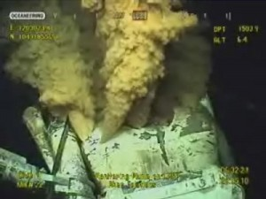 Underwater robot captures the images of a natural gas leak that forced the evacuation of an offshore platform in the Gulf of Mexico.