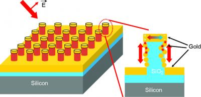 The chip has structures that feature two key components: A cavity formed by metal on the top and at the base of each pillar; and metal particles of about 20 nanometers in diameter, known as plasmonic nanodots, on the pillar wall, with small gaps of about 2 nanometers between the metal components. The small particles and gaps significantly boost the Raman signal. The cavities serve as antennae, trapping light from the laser so it passes the plasmonic nanodots multiple times to generate the Raman signal rather than only once.