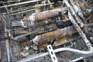 Aerial view of the damaged heat exchangers following the April 2, 2010 fire