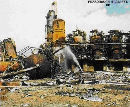 On 1 June 1974, a vapor cloud explosion destroyed the Nypro cyclohexane oxidation plant at Flixborough.