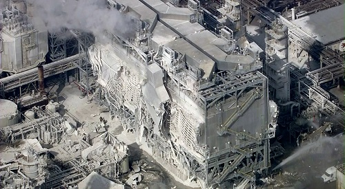 Aftermath of the Exxon Mobil refinery explosion last week. Source: LA Times