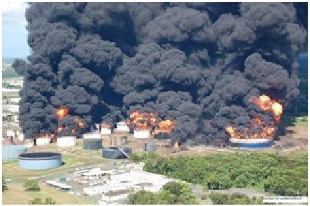 Aftermath of the 2009 massive blast at the Caribbean Petroleum gasoline terminal.