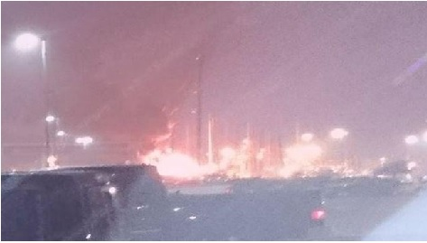 Fire this morning at the Valero Texas City Refinery. Source: Click2Houston.com