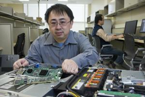 Yu Chen, associate professor of electrical and computer Engineering at Binghamton University.  Photo by  Jonathan Cohen/Binghamton University