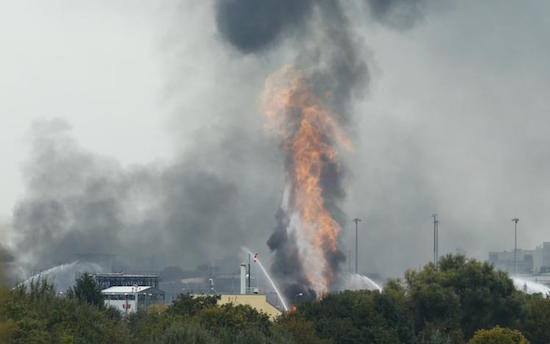 At least two people died, six severely injured and two more are missing after an explosion and fire at BASF's site in Ludwigshafen, Germany. Reuters photo