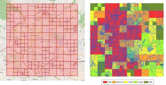 There is now an algorithm to improve online mapping of disaster areas. The image shows grid cells for disaster mapping (left) and cells prioritized using color codes (right).