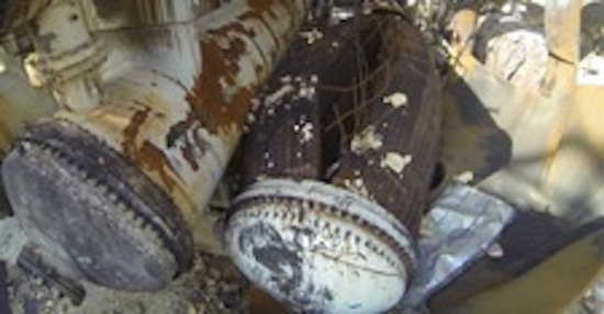 Heat exchanger shown after the blast at the Williams Olefins Plant in Geismar, Louisiana.