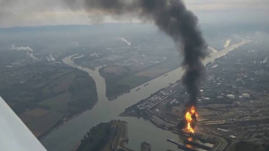 BASF Ludwigshafen plant in Germany burns after an explosion this past October.